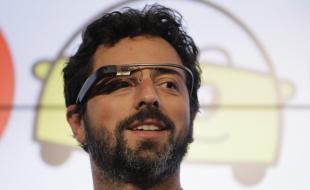Google co-founder Sergey Brin wearing his company's Google Glasses. (AP Photo/Eric Risberg)