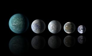 Relative sizes of all of the habitable-zone planets discovered to date alongside Earth. Left to right: Kepler-22b, Kepler-69c, Kepler-62e, Kepler-62f and Earth (except for Earth, these are artists' renditions).
