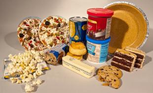 A variety of processed foods that can contain trans fat.