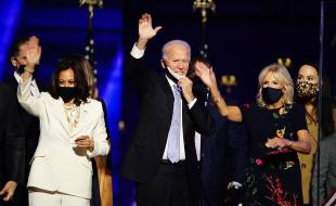 President-elect Joe Biden and Dr. Jill Biden with Vice President-elect Kamala Harris are joined by family members after Mr. Biden delivered his victory address in Wilmington, Delaware, on November 7, 2020.