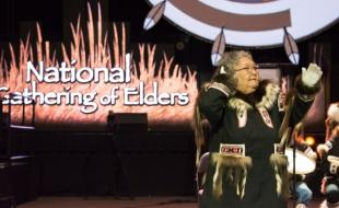 Inuvik elder Lillian Elias takes part in a ceremony at the National Gathering of Elders, held in Edmonton between September 11 and 14, 2017. (Laurie Buffalo)